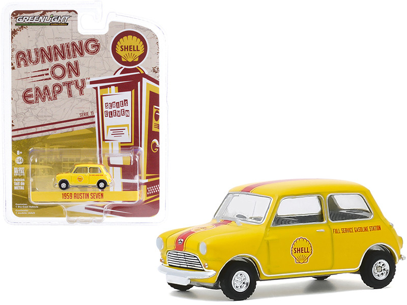 """1959 Austin Seven """"Shell Oil"""" Yellow with Red Stripe """"Running on Empty"""" Series 11 1/64"""