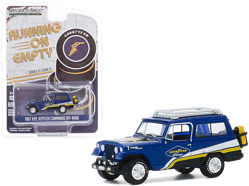 """1967 Jeep Jeepster Commando Off-Road with Roof Rack Blue with Stripes """"Goodyear Racing"""" """"Running on Empty"""" Series 11 1/64"""