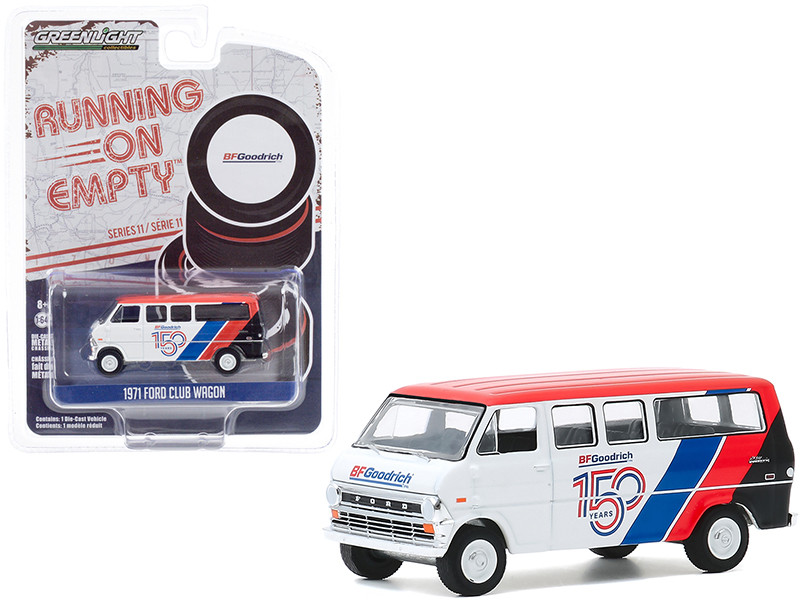 """1971 Ford Club Wagon Bus White and Red with Stripes """"BFGoodrich 150th Anniversary"""" """"Running on Empty"""" Series 11 1/64"""
