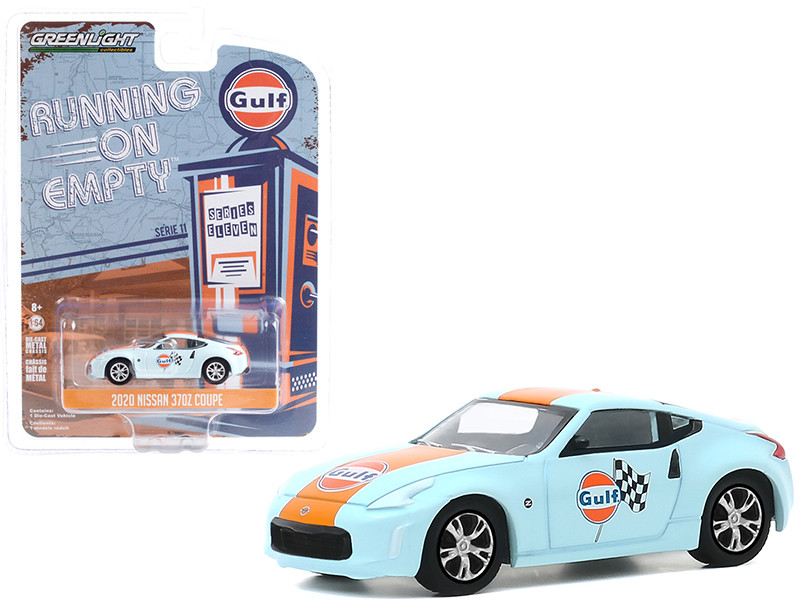 """2020 Nissan 370Z Coupe Light Blue with Orange Stripe """"Gulf Oil"""" """"Running on Empty"""" Series 11 1/64"""