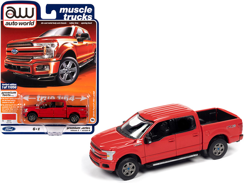 """2019 Ford F-150 Lariat Pickup Truck Race Red """"Muscle Trucks"""" 1/64"""