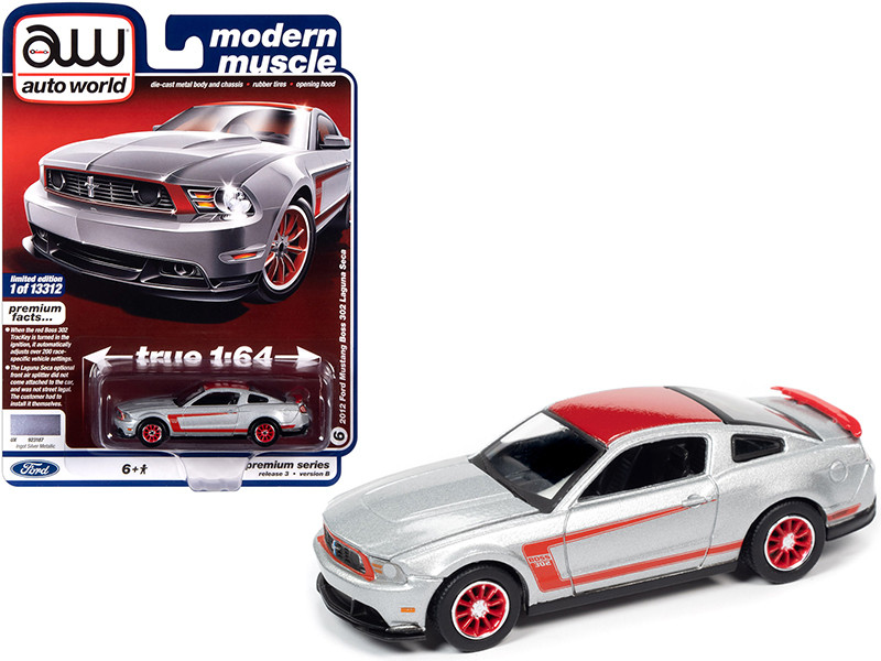 """2012 Ford Mustang Boss 302 Laguna Seca Ingot Silver Metallic and Red with Red Wheels """"Modern Muscle"""" 1/64"""