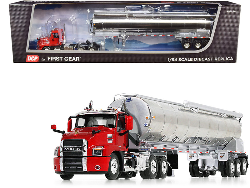 Mack Anthem Day Cab with Walinga Bulk Feed Tri-Axle Trailer Red and Silver 1/64
