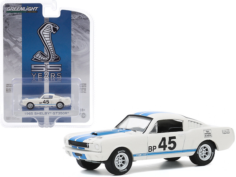 """1965 Ford Mustang Shelby GT350R #45 White with Blue Stripes """"Mustang GT350 55th Anniversary"""" """"Anniversary Collection"""" Series 11 1/64"""