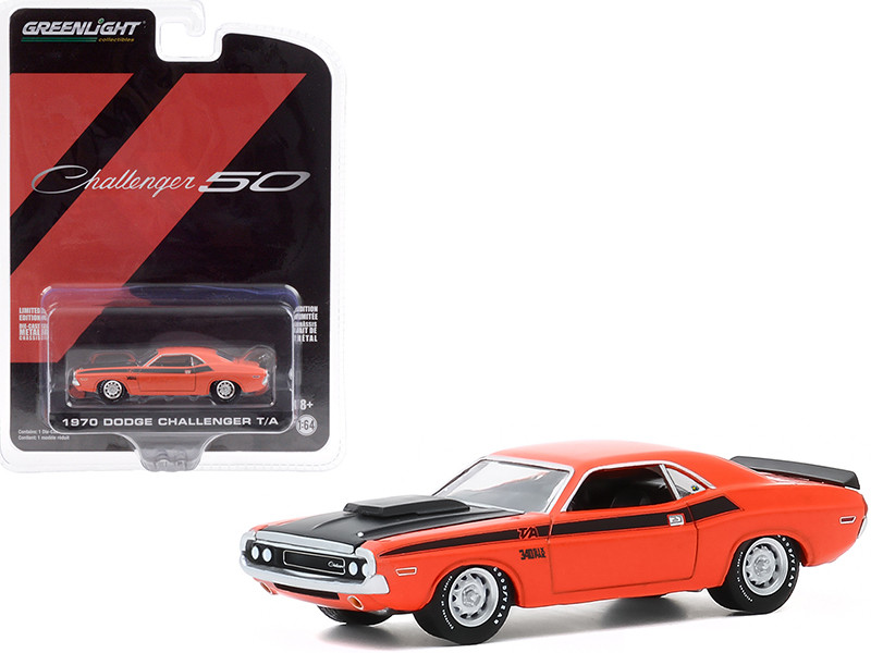 """1970 Dodge Challenger T/A Orange with Black Hood and Black Stripes """"Dodge Challenger 50th Anniversary Challenger 50"""" """"Anniversary Collection"""" Series 11 1/64"""