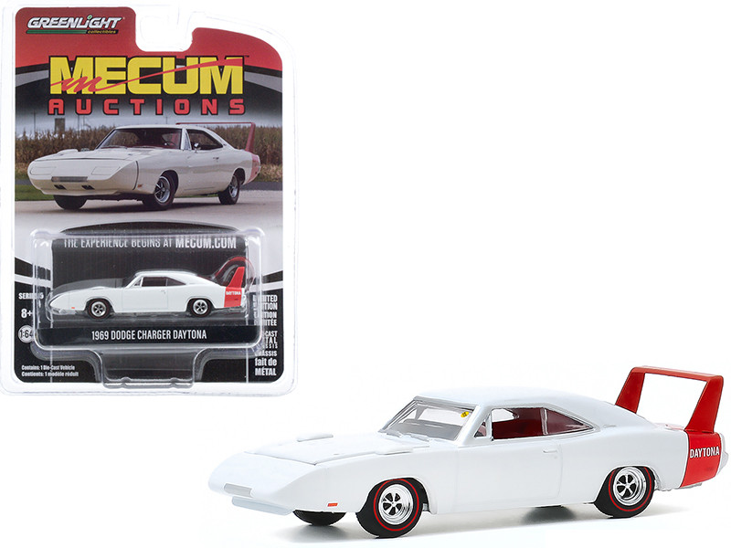 """1969 Dodge Charger Daytona White (Kissimmee 2020) """"Mecum Auctions Collector Cars"""" Series 5 1/64"""