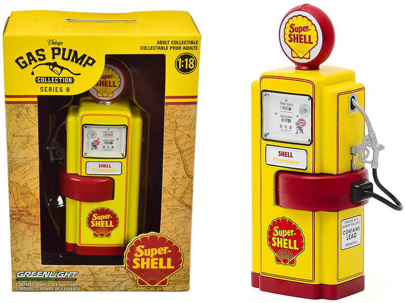 """1948 Wayne 100-A Gas Pump """"Super Shell"""" Yellow and Red """"Vintage Gas Pumps"""" Series 8 1/18"""
