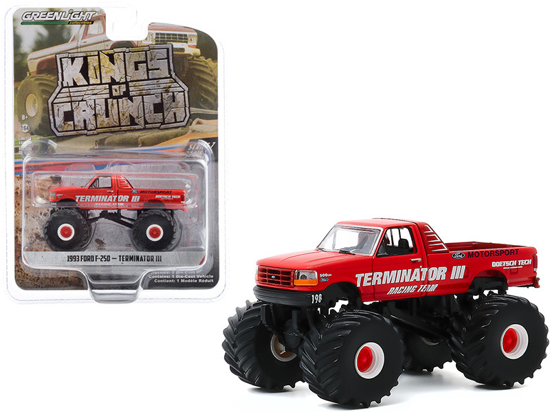 """1993 Ford F-250 Monster Truck """"Terminator III"""" Red """"Kings of Crunch"""" Series 7 1/64"""