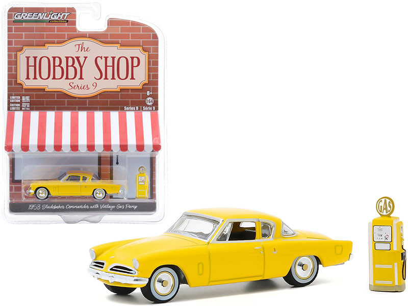 """1953 Studebaker Commander Yellow with Vintage Gas Pump """"The Hobby Shop"""" Series 9 1/64"""