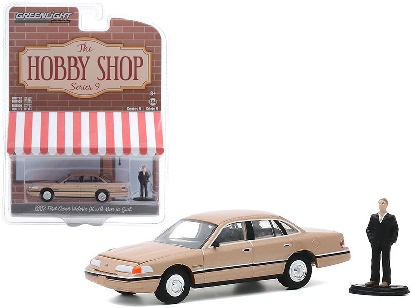 """1992 Ford Crown Victoria LX Gold Metallic with Man in Suit Figurine """"The Hobby Shop"""" Series 9 1/64"""