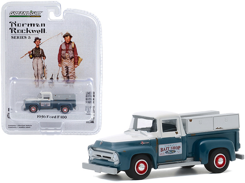 """1956 Ford F-100 Pickup Truck """"Norman\'s Bait Shop"""" White and Blue """"Norman Rockwell"""" Series 3 1/64"""