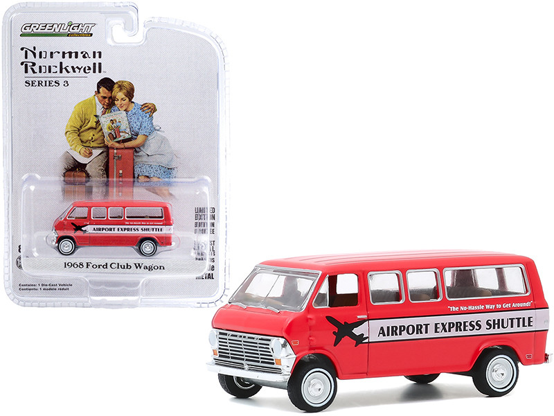 """1968 Ford Club Wagon Bus """"Airport Express Shuttle"""" Red with White Stripe """"Norman Rockwell"""" Series 3 1/64"""