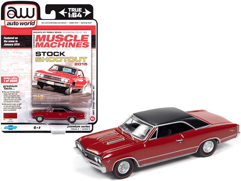 """1967 Chevrolet Chevelle SS Bolero Red with Flat Black Vinyl Top """"Hemmings Muscle Machines"""" Magazine Cover Car (January 2016) 1/64"""