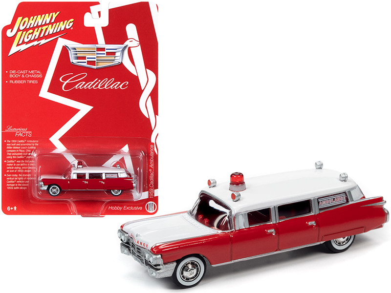"""1959 Cadillac Ambulance Red and White """"Special Edition"""" 1/64"""