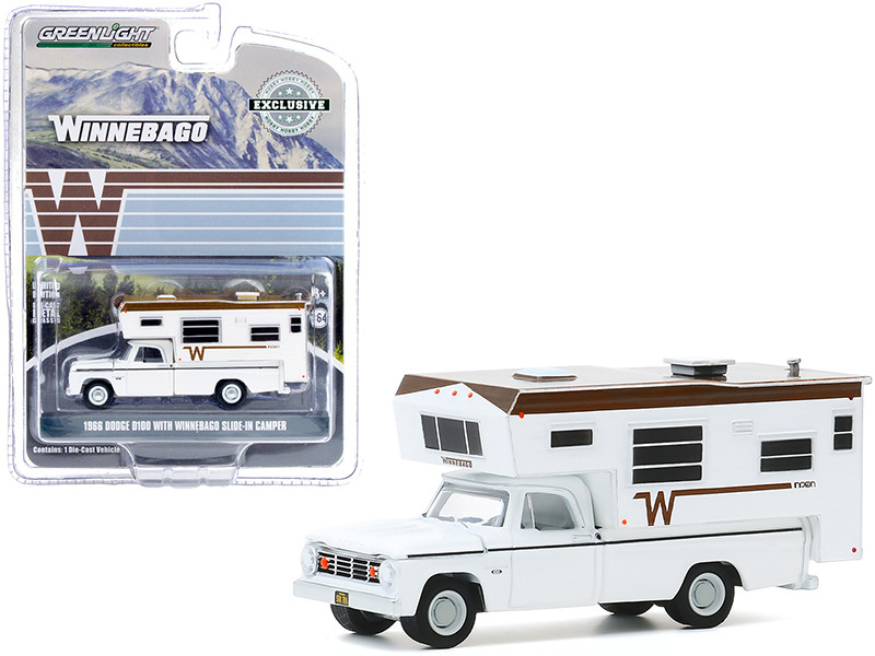 """1966 Dodge D100 Pickup Truck with Winnebago Slide-In Camper White with Brown Top """"Hobby Exclusive"""" 1/64"""