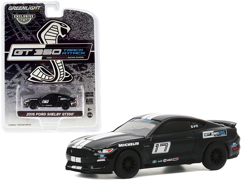 """2016 Ford Mustang Shelby GT350 #17 Shadow Black with White Stripes """"Ford Performance Racing School"""" GT350 Track Attack """"Hobby Exclusive"""" 1/64"""
