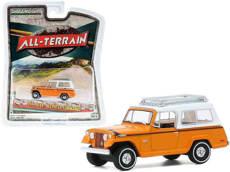 """1971 Jeep Jeepster Commando with Roof Rack Orange with White Top """"All Terrain"""" Series 10 1/64"""
