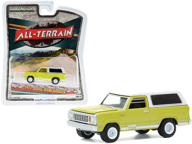 """1977 Dodge Ramcharger with Four by Four Stripe Kit Bright Green with White Top """"All Terrain"""" Series 10 1/64"""