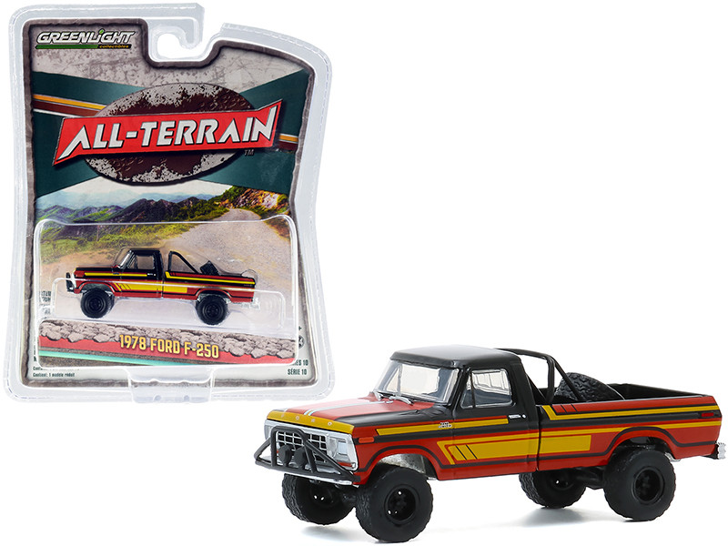 """1978 Ford F-250 with Off-Road Parts Pickup Truck Black and Red with Yellow Stripes """"All Terrain"""" Series 10 1/64"""