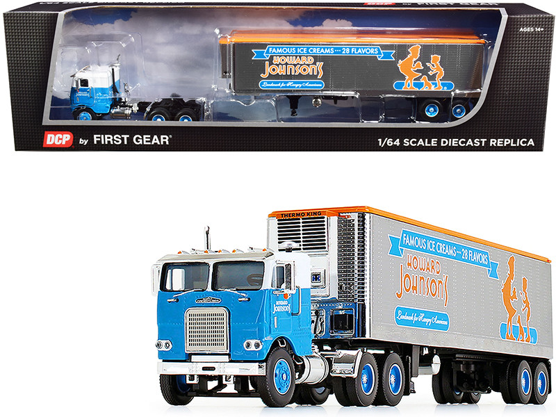 """White Freightliner COE with 40\' Vintage Reefer Refrigerated Trailer """"Howard Johnson\'s"""" 34th in a """"Fallen Flag Series"""" 1/64"""