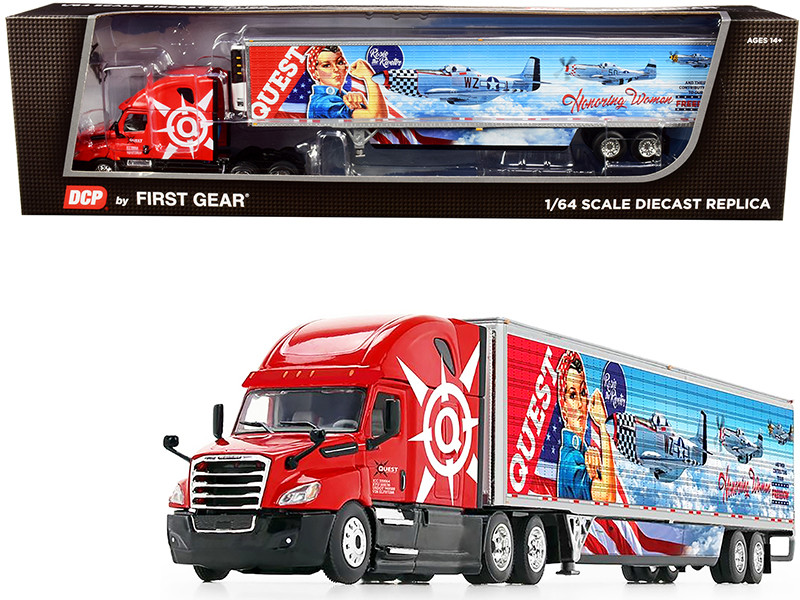 """2018 Freightliner Cascadia High-Roof Sleeper Cab with 53\' Wabash Reefer Refrigerated Trailer with Skirts """"Quest Trucking"""" 1/64"""