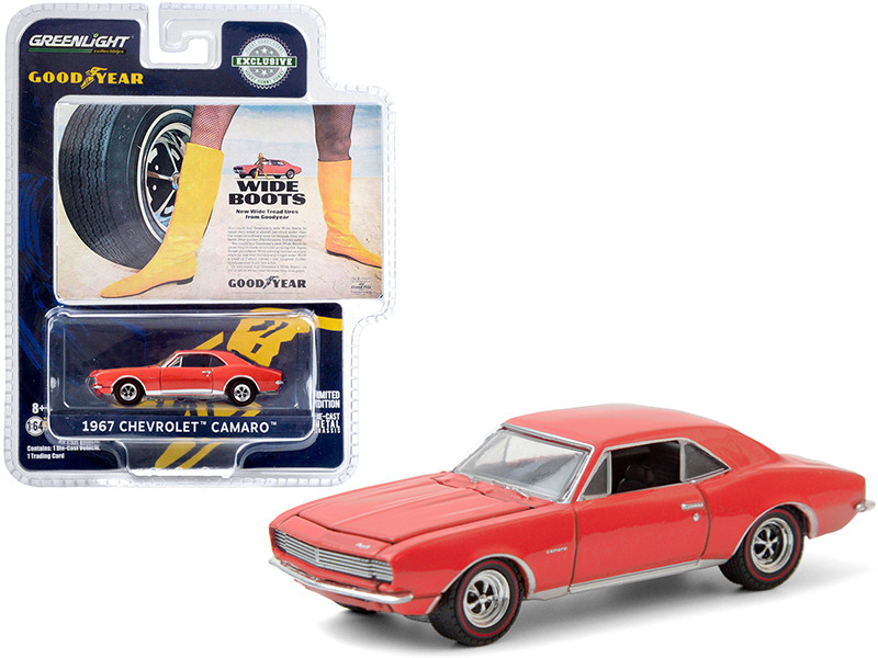 """1967 Chevrolet Camaro Orange """"Wide Boots"""" """"New Wide Tread Tires from Goodyear"""" Goodyear Vintage Ad Cars """"Hobby Exclusive"""" 1/64"""