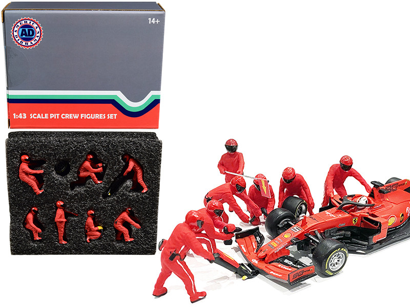 Formula One F1 Pit Crew 7 Figurine Set Team Red for 1/43
