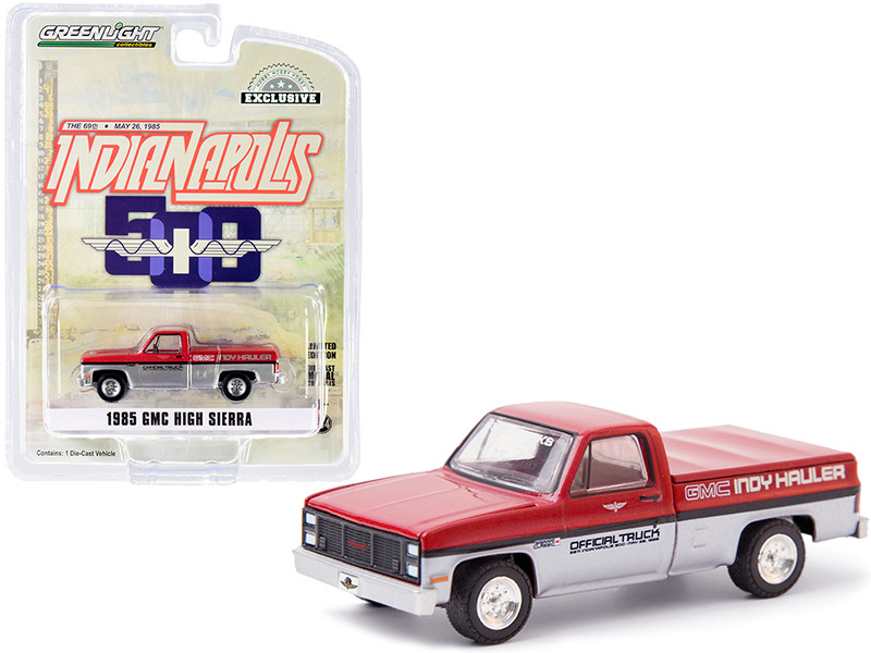 """1985 GMC High Sierra Pickup Official Truck with Bed Cover Red Metallic and Silver """"69th Annual Indianapolis 500 Mile Race"""" GMC Indy Hauler """"Hobby Exclusive"""" 1/64 Diecast Model Car by Gree"""