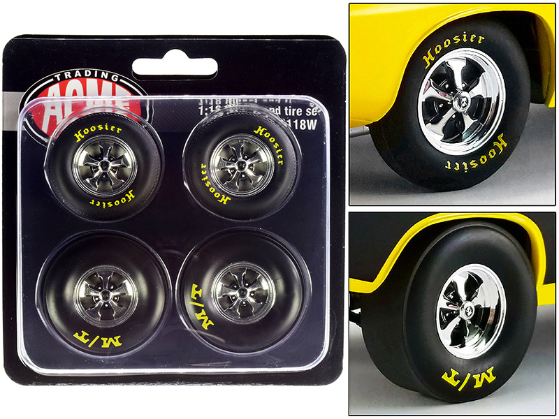 """Drag Wheel and Tire Set of 4 pieces from """"1972 Plymouth HEMI Drag Barracuda"""" 1/18"""