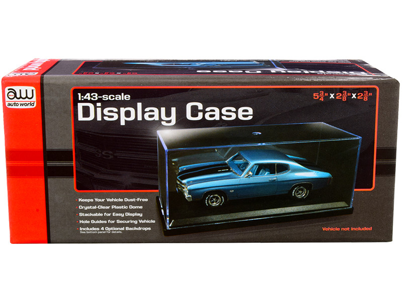 Acrylic Display Show Case with Black Plastic Base and 4 Display Backdrops for 1/43