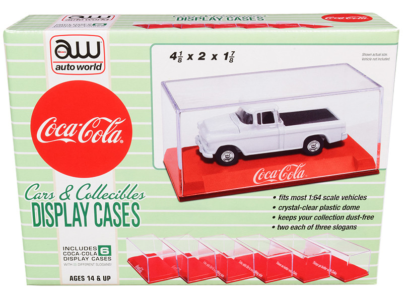 """6 Collectible Acrylic Display Show Cases with Red Plastic Bases with 3 Different Slogans """"Coca-Cola"""" for 1/64"""