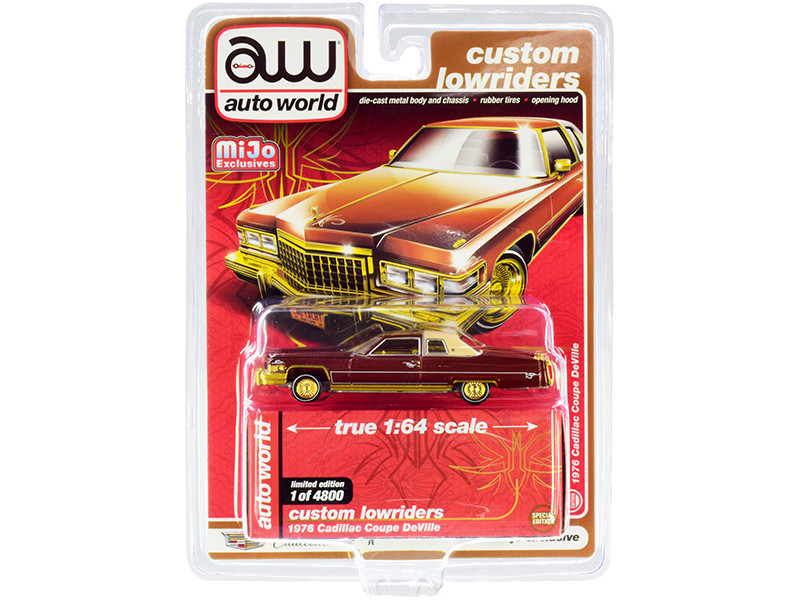 """1976 Cadillac Coupe DeVille Burgundy and Cream with Gold Wheels """"Custom Lowriders"""" 1/64"""