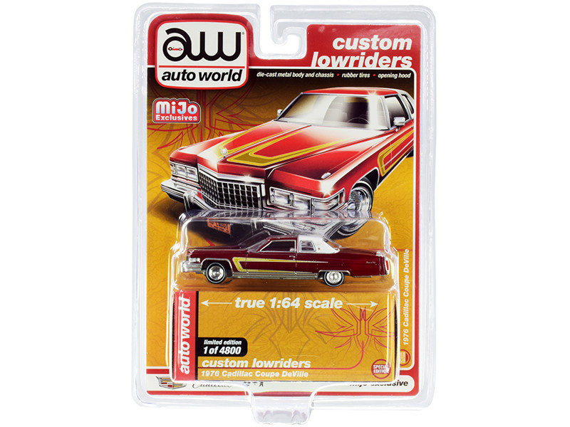 """1976 Cadillac Coupe DeVille Burgundy and White with Chrome Wheels """"Custom Lowriders"""" 1/64"""