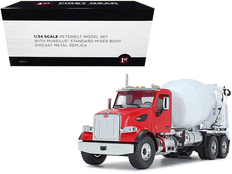 Peterbilt 567 with McNeilus Standard Mixer Red and White 1/34