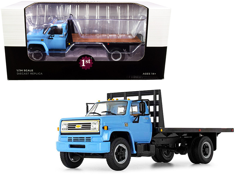 Chevrolet C65 Flatbed Truck Blue and Black 1/34