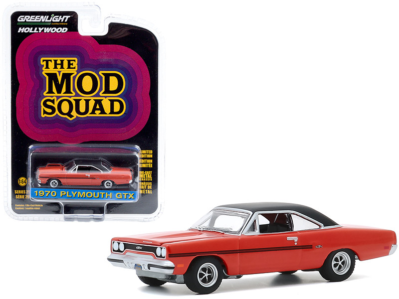 """1970 Plymouth GTX Orange with Black Top """"The Mod Squad"""" (1968-1973) TV Series """"Hollywood Series"""" Release 29 1/64"""