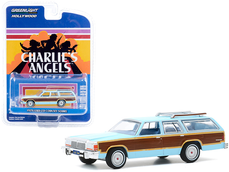"""1979 Ford LTD Country Squire Light Blue with Wood Grain Paneling """"Charlie\'s Angels"""" (1976-1981) TV Series """"Hollywood Series"""" Release 29 1/64"""