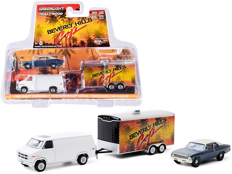 """1983 GMC Vandura Van White with 1970 Chevrolet Nova Blue with Cream Top (Unrestored) and Enclosed Car Hauler """"Beverly Hills Cop"""" (1984) Movie """"Hollywood Hitch and Tow"""" Series 8 1/64 Dieca"""