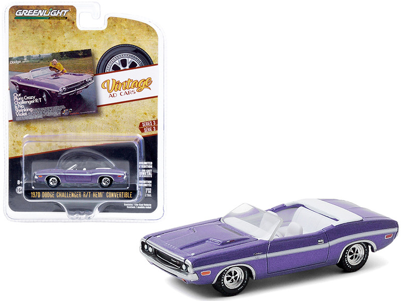 """1970 Dodge Challenger R/T HEMI Convertible Plum Crazy with White Stripes """"Our Plum Crazy Challenger R/T is No Shrinking Violet"""" """"Vintage Ad Cars"""" Series 3 1/64 Diecast Model Car by Greenl"""