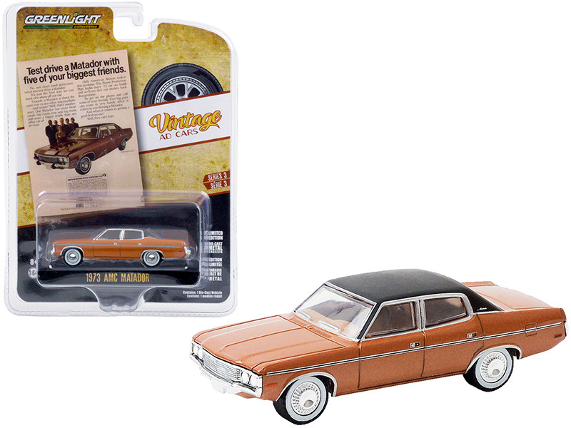 """1973 AMC Matador Brown Metallic with Black Top """"Test Drive a Matador with Five of Your Biggest Friends"""" """"Vintage Ad Cars"""" Series 3 1/64"""