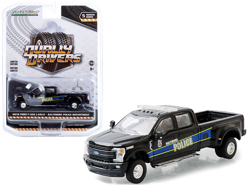 """2019 Ford F-350 Lariat Dually Pickup Truck Black """"Baltimore Police Department"""" (Maryland) """"Dually Drivers"""" Series 5 1/64"""
