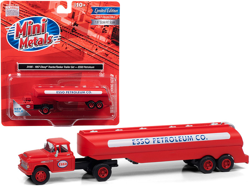 """1957 Chevrolet Truck Tractor with Tanker Trailer Red """"ESSO Petroleum Co."""" 1/87 (HO)"""