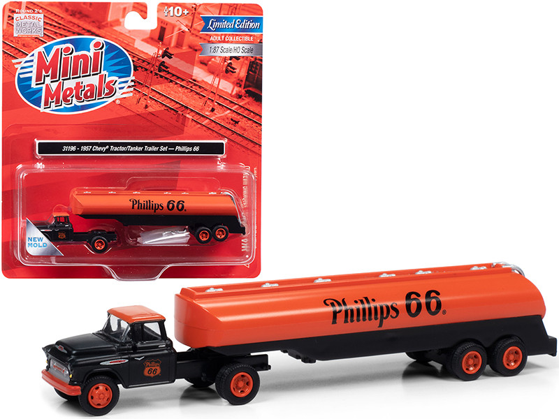 """1957 Chevrolet Truck Tractor with Tanker Trailer Black and Orange """"Phillips 66"""" 1/87 (HO)"""