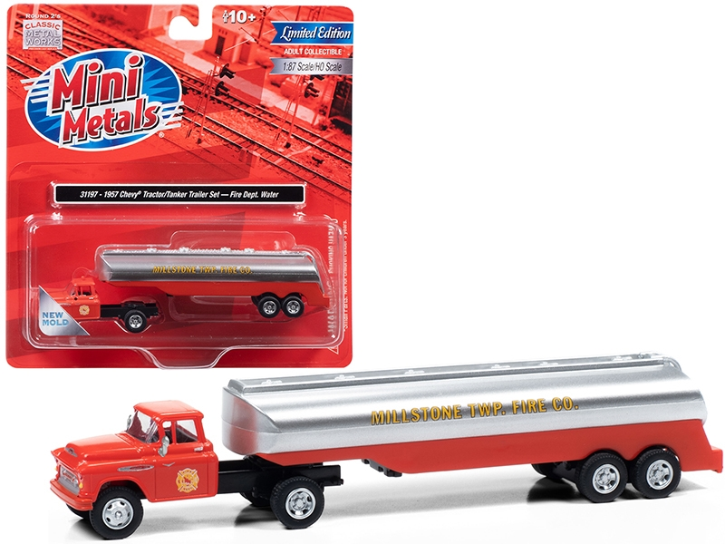 """1957 Chevrolet Truck Tractor with Tanker Trailer Orange and Silver """"Millstone Township Fire Co."""" 1/87 (HO)"""
