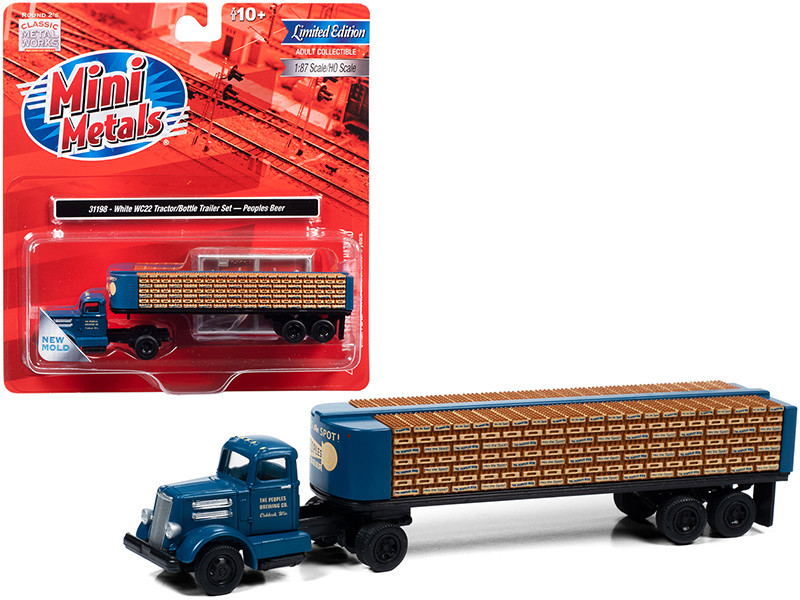 """White WC22 Truck Tractor with Bottle Trailer Dark Blue """"The Peoples Brewing Co."""" 1/87 (HO)"""