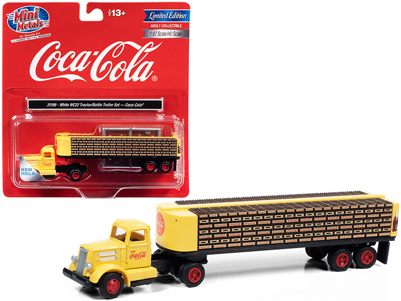 """White WC22 Truck Tractor with Bottle Trailer Yellow """"Coca-Cola"""" 1/87 (HO)"""