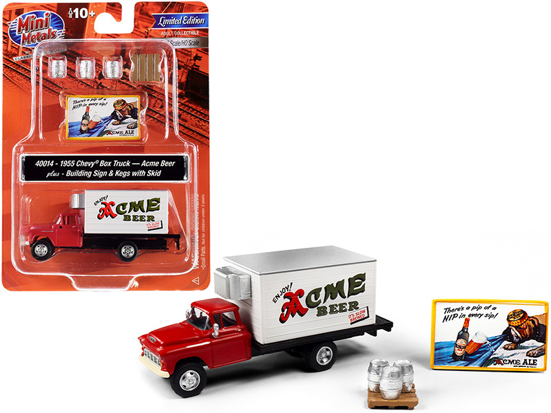 """1955 Chevrolet Box Truck Red and White with Building Sign and 3 Beer Kegs with Skid """"Acme Beer"""" 1/87 (HO)"""