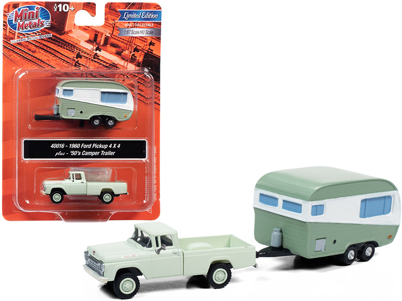 1960 Ford 4x4 Pickup Truck and 1950's Camper Travel Trailer Adriatic Green 1/87 (HO)