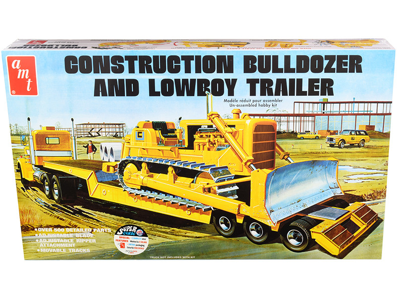 Construction Bulldozer and Lowboy Trailer Set of 2 pieces 1/25 Skill 3 Model Kit