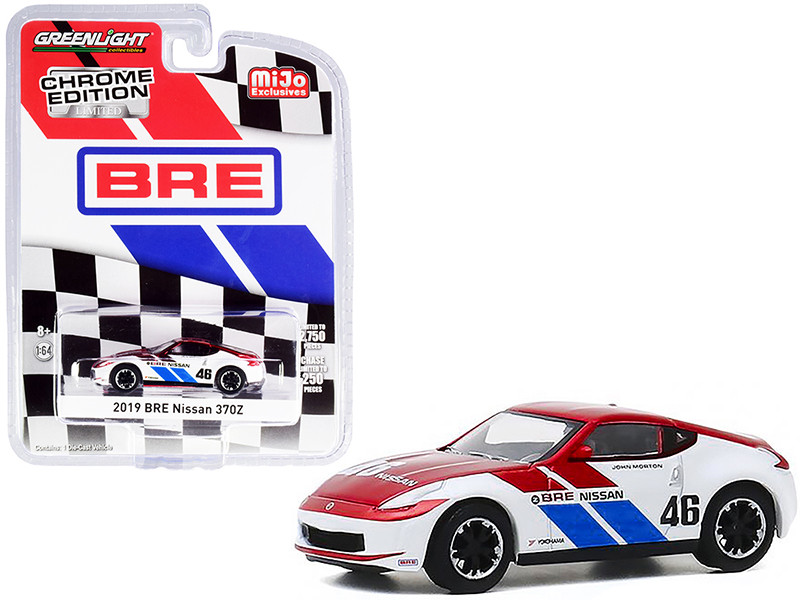 """2019 Nissan 370Z #46 John Morton Chrome Red and White """"BRE"""" (Brock Racing Enterprises) """"Chrome Edition"""" Limited Edition to 2750 pieces Worldwide 1/64"""